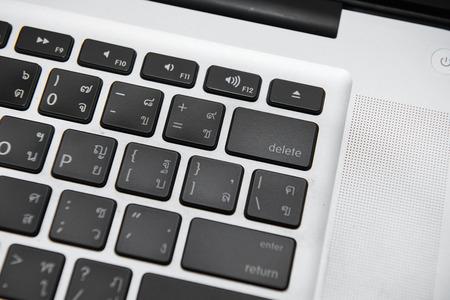 delete button: Delete button labtop with Thai keyboard