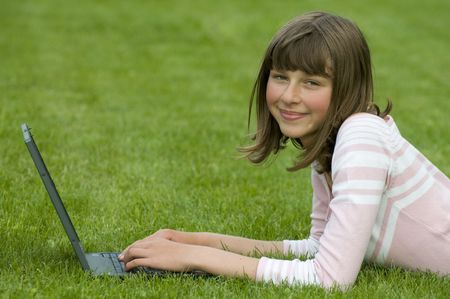 Teenager working at computer Stock Photo - 3756618