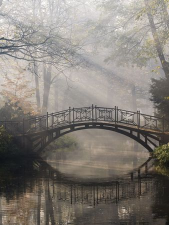 Mistic bridge in autumn park Stock Photo