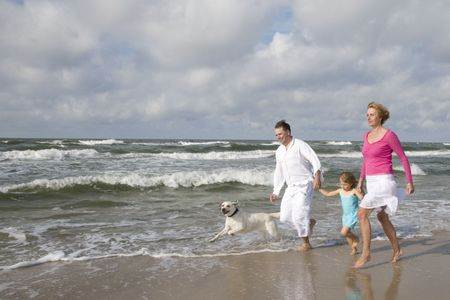 Happy family playing on the beach Stock Photo - 3790659