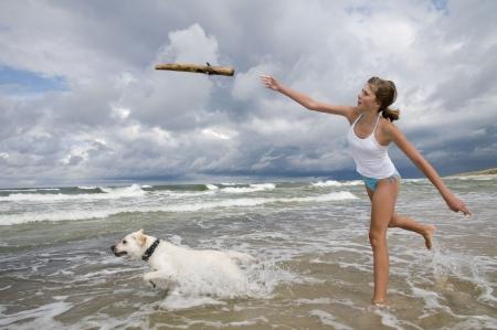 fetch: Labrador retriever playing on the beach