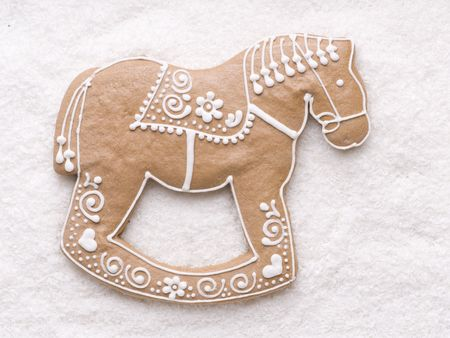 christmas horse: Gingerbread horse on coconut background