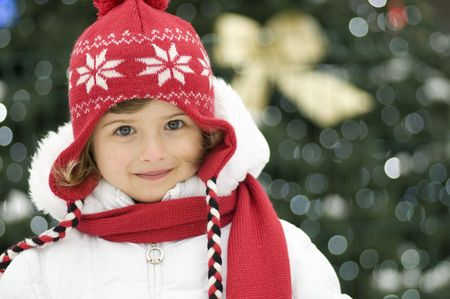 Cute girl  winter portrait Stock Photo