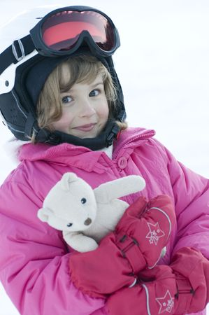 Little girl on ski Stock Photo