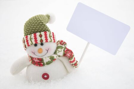 Snowman with sign Stock Photo - 4157098