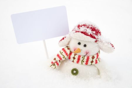 Snowman with sign Stock Photo - 4157097