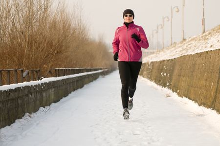 Winter running  Stock Photo