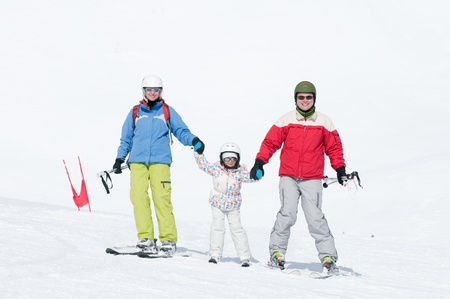 Family ski lesson Stock Photo