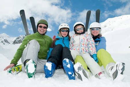 Happy family ski team Stock Photo