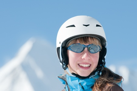 Young skier portrait - space for text photo