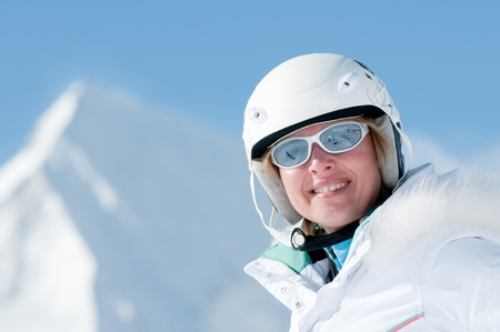 Skier portrait - space for text photo
