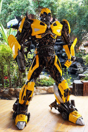 replica: Chachoengsao, THAILAND - Feb 06: The Replica of Bumblebee robot statue from Transformer at Wat samarn temple