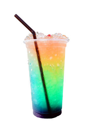 rainbow cocktail: Ice cold Colorful rainbow cocktail on white background.
