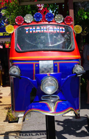 tuk tuk: Hua-Hin beach,Thailand - 18 july 2016 : Recycled metal steel of Thailand three wheel native taxi (Tuk Tuk) at Hau-Hin Tique animal show