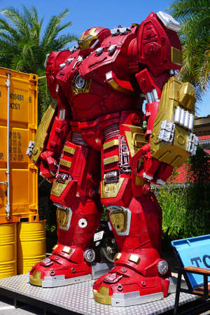 avenger: Hua-Hin beach,Thailand - 18 july 2016 : Recycled metal steel Robots theme park at Hua Hin Tique animal show : Iron Man model avenger Editorial