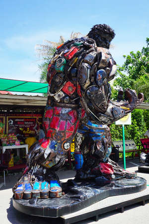 avenger: Hua-Hin beach,Thailand - 18 july 2016 : Recycled metal steel Robots theme park at Hua Hin Tique animal show : Iron Patriot model