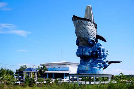 big clown fish: Big whale statue in front of Samutsakhon Marine Aquarium at Sahakhon Road Thailand