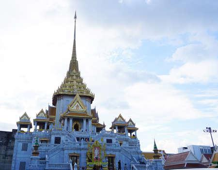Wat traimit witthayaram wora wiharn temple, public landmark of worship, middle in Bangkok city, Thailand