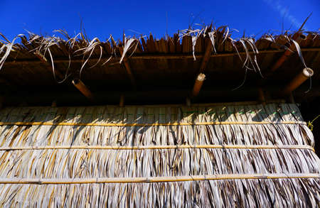 Houses wall made from dried leaves of the nipa palm and bamboo. old wall textured background.
