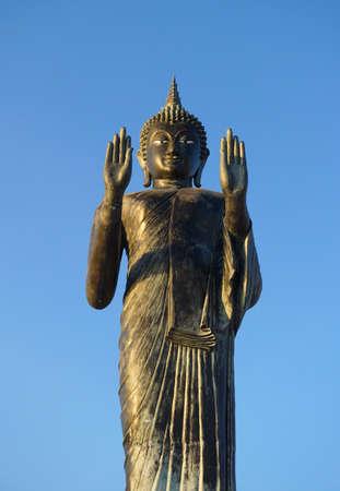 Samut Prakan Province, Thailand - January 30,2017 : Buddha statue with blue sky at Khun Samut Trawat temple Thailand Editorial