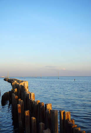 Man made wooden pole of sea wall stand on the Thai bay