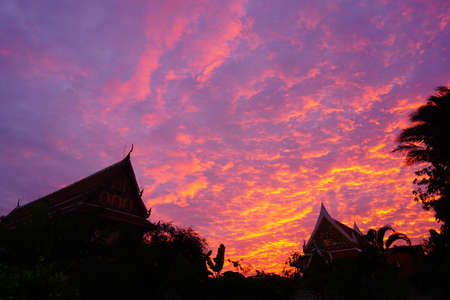Thai temple silhouette, dramatic and beautiful sky