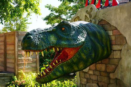 HUAHIN,THAILAND - January 7 : The venezia building landmark tourist attraction show dinosaur for children in playland on January 7, 2017 in Huahin,Thailand