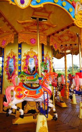 play the old park: Colorful carousel for kid
