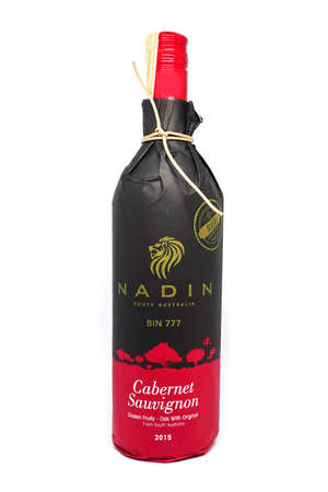 BANGKOK, Thailand - Febuary 23, 2017: View of Red wine Nadin bin 777 bottles in supermarket. Cabernet Sauvignon classic fruity - oak white original from South Australia