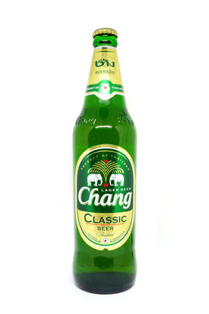 BANGKOK, Thailand - Febuary 23, 2017: View of Chang Classic lager Beer bottles in supermarket. The Chang Classic brand owned by ThaiBev