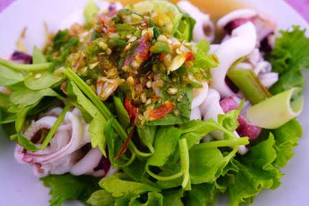 Thai food. Spicy yum squid salads. Banco de Imagens