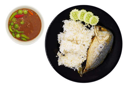 Fried Mackerel and brown rice with Spicy shrimp Paste Sauce (nam prik kapi pla too)