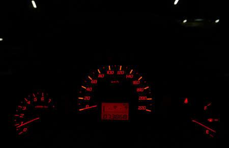 Mile meter console inside car - Led light in dark