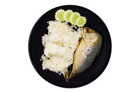 Fried Mackerel with brown rice