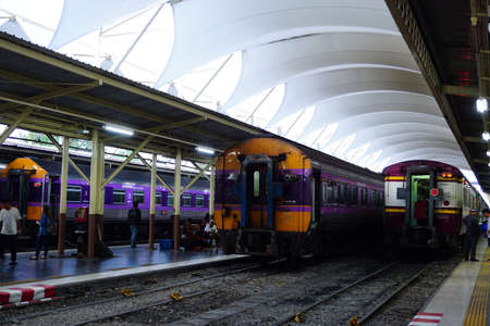 BANGKOK, THAILAND - March16, 2017: Bangkok Railway Station (Hua Lamphong) is built in 1916 in an Italian Neo-Renaissance style, with decorated wooden roofs and stained glass windows.