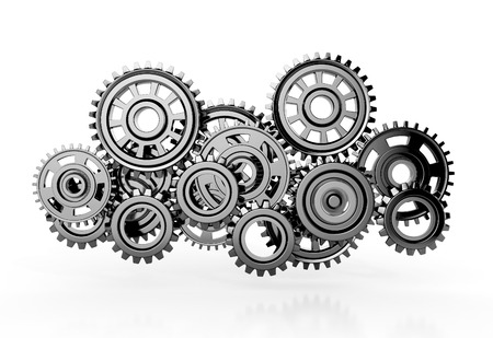 gear motion: gears isolated on white background. 3d render