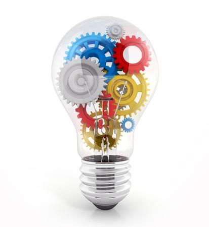 gears: bombilla con engranajes en �l. concepto de proceso. Ilustraci�n 3d aislado en blanco