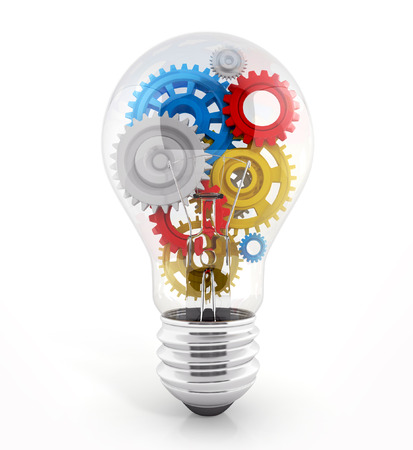 light red: light bulb with gears in it. concept of process. 3d illustration isolated on white