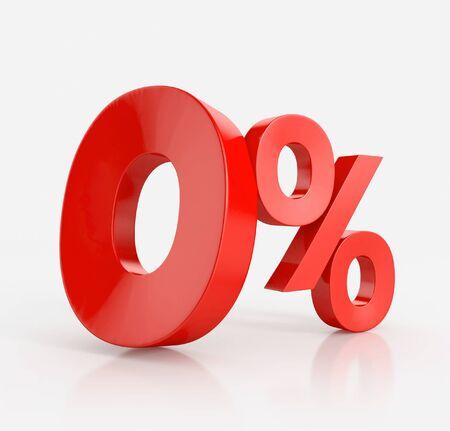 zero percent, isolated on white background Stock Photo