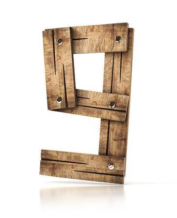 numero nueve: wooden number nine (9). 3d illustration isolated