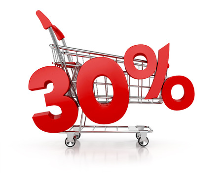thirty percent off: 30 percent discount and shopping cart. sale concept. 3d render
