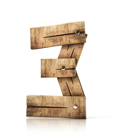 wooden number three (3) . 3d illustration isolated Stock Photo