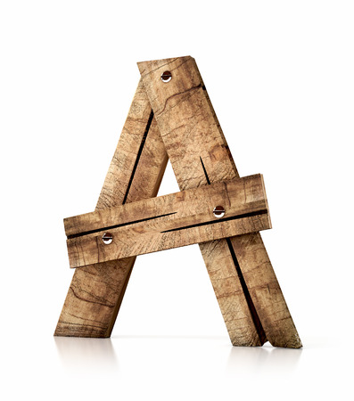 Single wooden A letter isolated on the white background. 3d illustration. wooden font.