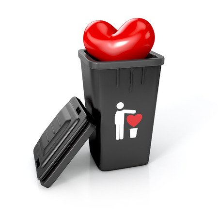 toss: trash can with trash heart sign and heart in it. 3d illustration isolated