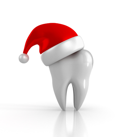 Tooth wearing a santa hat. 3D Illustration isolated
