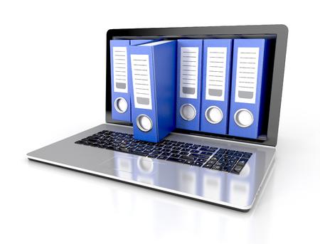 bestanden in de database - laptop met ringbanden. 3D-afbeelding op een witte achtergrond