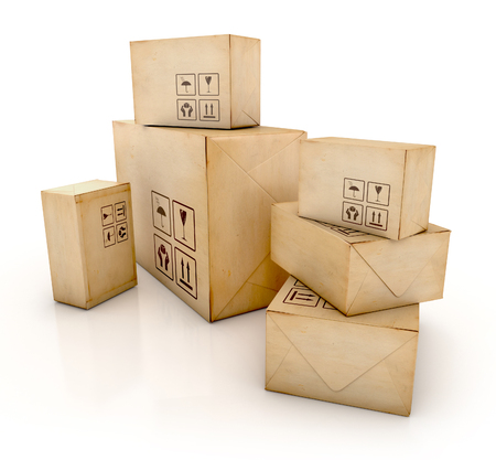 stockpile: Cardboard boxes. Delivery concept. 3D Iillustration isolated on white background Stock Photo
