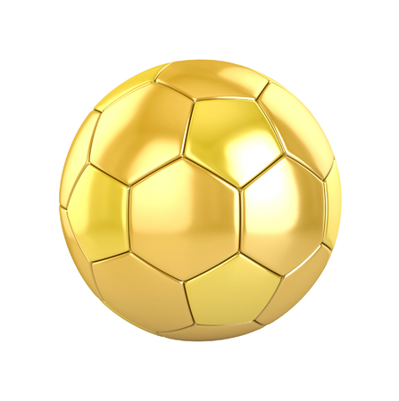 golden ball: golden football (soccer ball) on white. 3d render