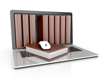 wiki: digital library - books inside computer concept. 3d illustration isolated on white background.