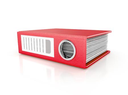 bestanden in de database - rode ringbinder. 3d illustratie geïsoleerd op een witte achtergrond Stockfoto